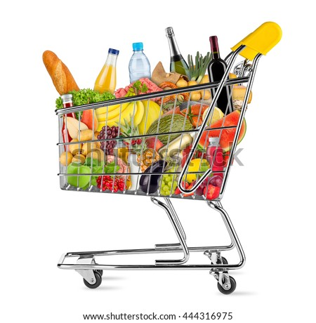 yellow shopping cart filled with various food and beverages isolated on white background - stock photo