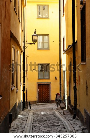 Yellow side street in Stockholm, Sweden