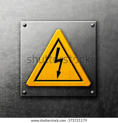 Yellow sign high voltage on metal background