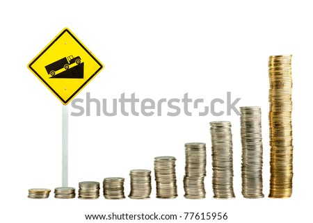 Yellow sign up hill and graph of coin - stock photo