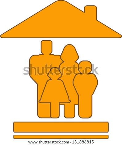 yellow  sign with warm house and family silhouette - stock photo