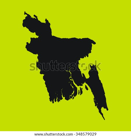 Yellow Silhouette of the Country Bangladesh