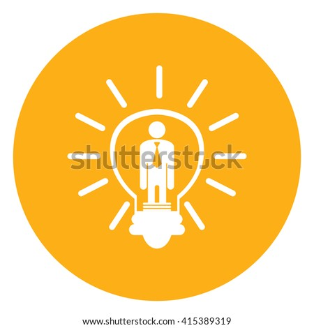 Yellow Simple Circle Businessman in Light Bulb, Business Idea Infographics Flat Icon, Sign Isolated on White Background - stock photo