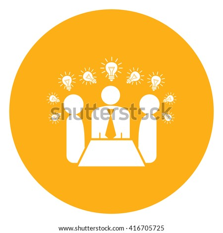 Yellow Simple Circle Businessman Meeting, Brainstorming Infographics Flat Icon, Sign Isolated on White Background  - stock photo