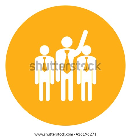 Yellow Simple Circle Businessman Raising Hand Infographics Flat Icon, Sign Isolated on White Background  - stock photo
