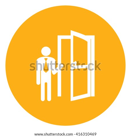 Yellow Simple Circle Businessman With Door Opened Infographics Flat Icon, Sign Isolated on White Background - stock photo