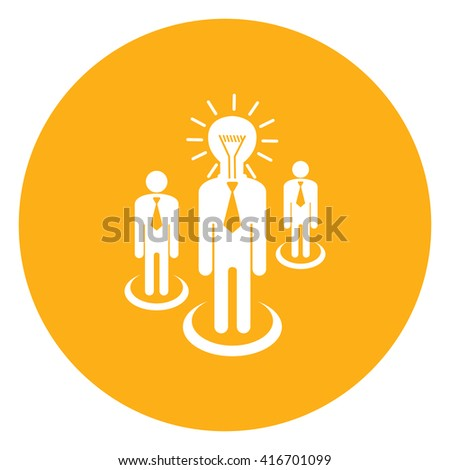 Yellow Simple Circle Businessman With Light Bulb Head, Idea, Brainstorming Infographics Flat Icon, Sign Isolated on White Background - stock photo