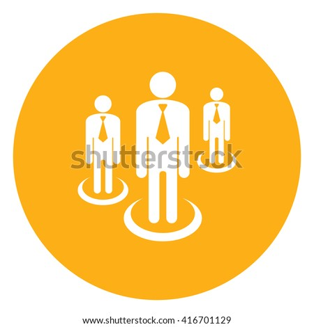 Yellow Simple Circle Group of Businessman Infographics Flat Icon, Sign Isolated on White Background - stock photo