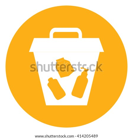 Yellow Simple Circle Litter Bin Infographics Flat Icon, Sign Isolated on White Background - stock photo
