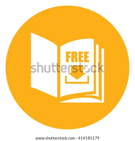 Yellow Simple Circle Open Book With Free Download Infographics Flat Icon, Sign Isolated on White Background - stock photo