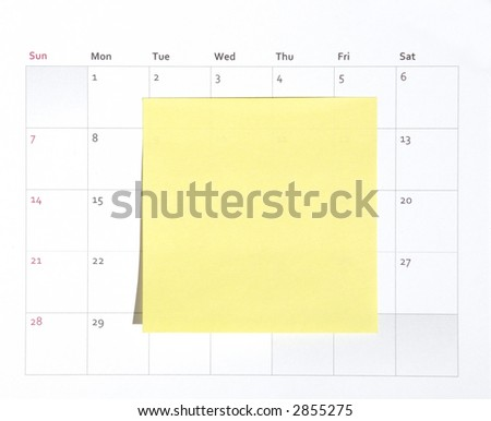 Yellow Simple Plain Blank Post-It Note On A Calendar, Space For Own Text, Background