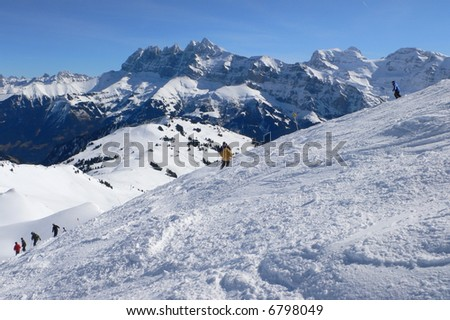 Yellow skier, Dents du Midi,	Mosettes - Cubere area,	Chatel,French Alps,	France
