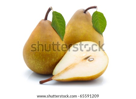 Yellow sliced pears with green leaf isolated on white background - stock photo