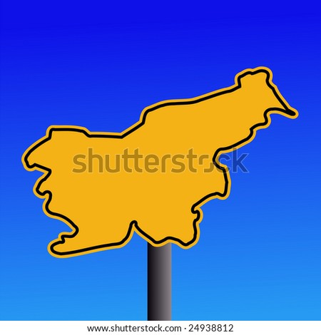 yellow Slovenia map warning sign on blue illustration JPEG