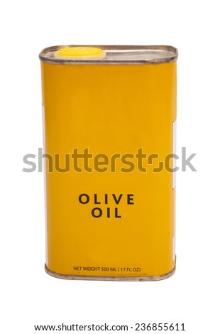 Yellow small tin of olive oil - stock photo