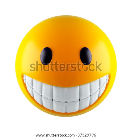 Yellow smiley face (3d render) - stock photo