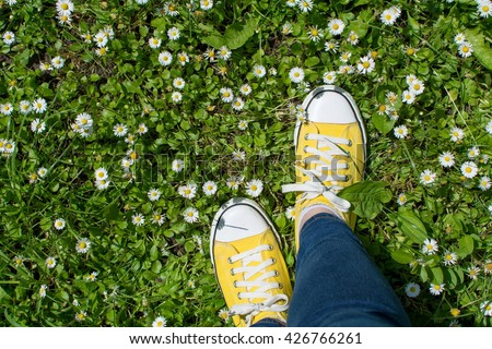 Yellow sneakers in a daisy field. First person point of view