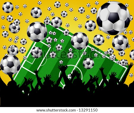yellow soccer background - stock photo