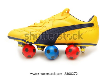 Yellow soccer footwear and color footballs isolated on white  - more footware in my portfolio