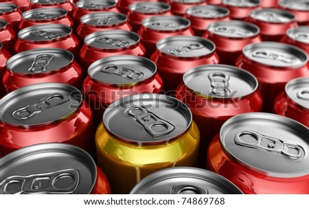 Yellow soda can standing out amongst red soda cans - stock photo