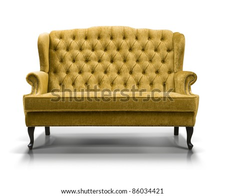 yellow sofa isolated on white background - stock photo