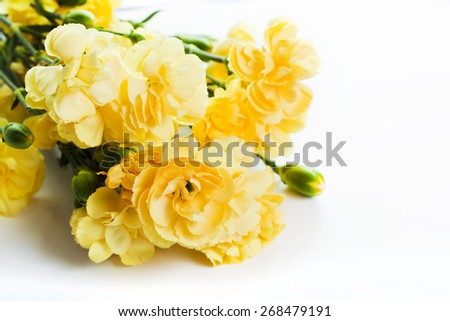 Yellow soft flowers bouquet on white background. Spring, celebration. - stock photo