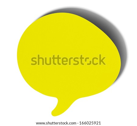 Yellow speech bubbles sticky note of cartoon and comics over white background, with shadow - stock photo
