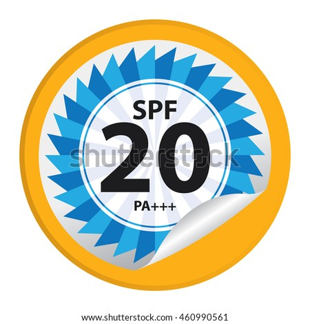 Yellow SPF 20 PA+++ Product Information Label Infographics Icon on Circle Peeling Sticker Isolated on White Background