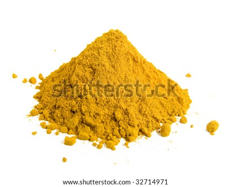 Yellow spice isolated on white background