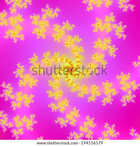 Yellow Spiral on Pink / A digital abstract fractal image with a yellow spiral design on a pink background. - stock photo