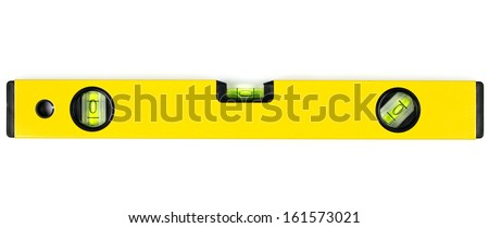 Yellow spirit level isolated on white background. - stock photo