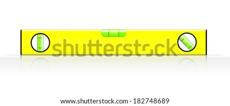 yellow spirit level on white background