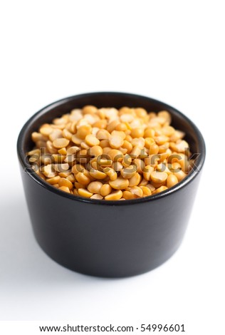 Yellow Split Peas in Bowl - stock photo
