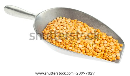 Yellow split peas on a metal scoop on white background - stock photo