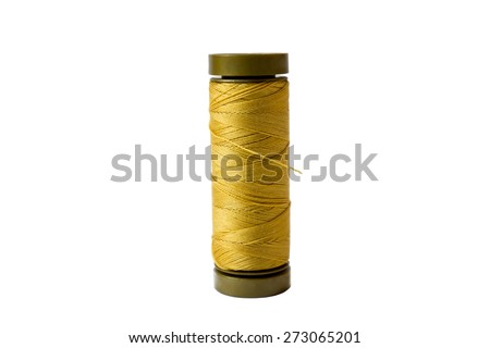 Yellow spool isolated on a white background - stock photo