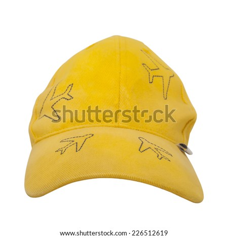 yellow sport cap isolated - stock photo