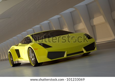 yellow sport car - stock photo
