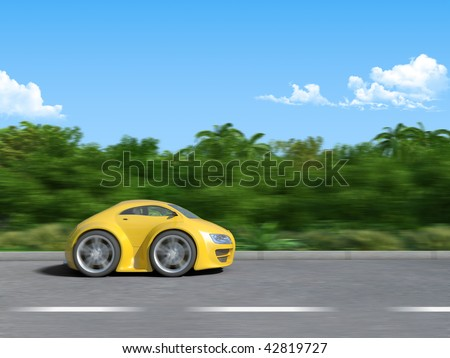 Yellow sportcar on the road baby coupe series (3D render of a funny sportcar racing on the tropic island road, micromachines series) - original design. - stock photo