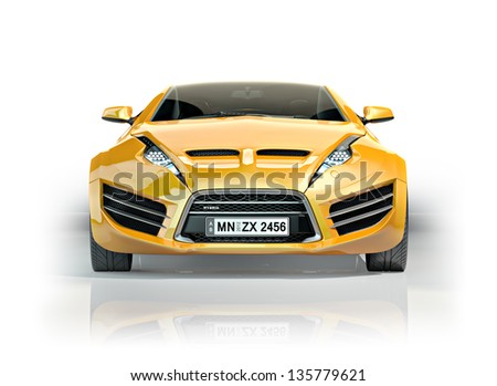 Yellow sports car - stock photo