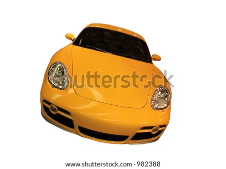 Yellow Sports Car Isolated On White - stock photo