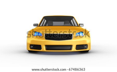 Yellow sports car isolated on white. No trademark issues as the car is my own design. This is a detailed 3D render. - stock photo