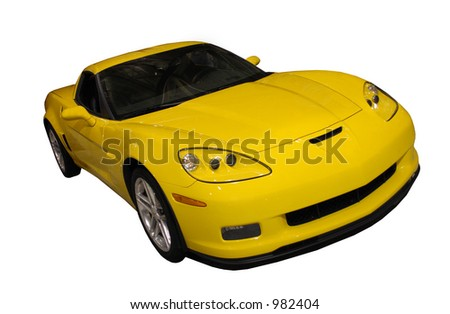 Yellow Sports Car Isolated Over White - stock photo