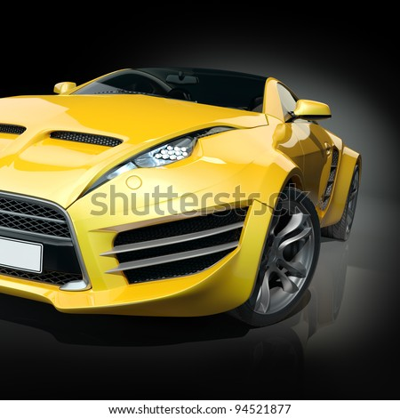 Yellow sports car on a black background. Non-branded car design. - stock photo