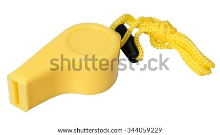 yellow sports whistle isolated on white background - stock photo