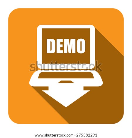 Yellow Square Computer Laptop With Demo Text on Screen Monitor Flat Long Shadow Style Icon, Label, Sticker, Sign or Banner Isolated on White Background - stock photo