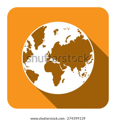 Yellow Square Earth Planet Flat Long Shadow Style Icon, Label, Sticker, Sign or Banner Isolated on White Background - stock photo