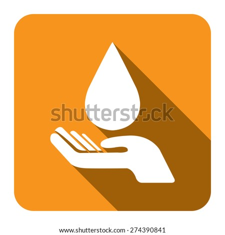 Yellow Square Hand Hold Water Drop Flat Long Shadow Style Icon, Label, Sticker, Sign or Banner Isolated on White Background - stock photo