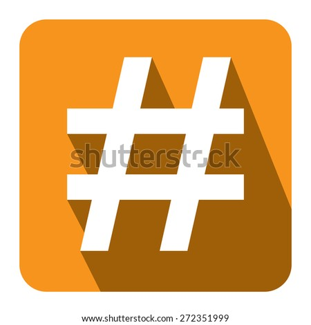 Yellow Square Hashtag, Tag Long Shadow Style Icon, Label, Sticker, Sign or Banner Isolated on White Background - stock photo