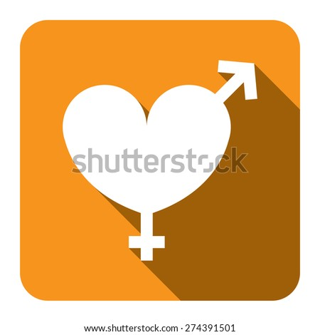 Yellow Square Heart With Male and Female Sign Flat Long Shadow Style Icon, Label, Sticker, Sign or Banner Isolated on White Background - stock photo