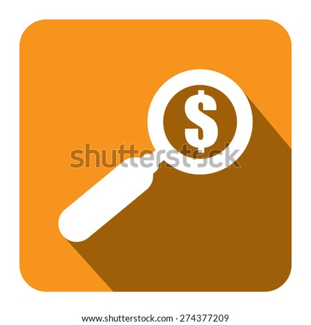 Yellow Square Magnifying Glass With Dollar Sign Flat Long Shadow Style Icon, Label, Sticker, Sign or Banner Isolated on White Background - stock photo